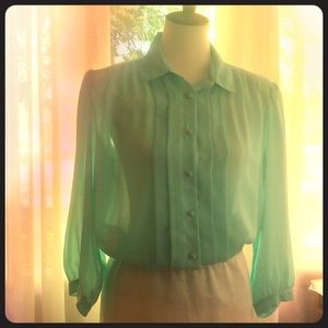 Vintage Mercy's for Her chiffon blouse- aqua sz 14